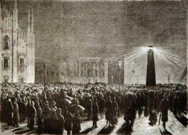 Disegno pubblicato sul  Corriere che evidenzia visivamente l'esperienza di illuminazione elettrica del 18 marzo 1877.