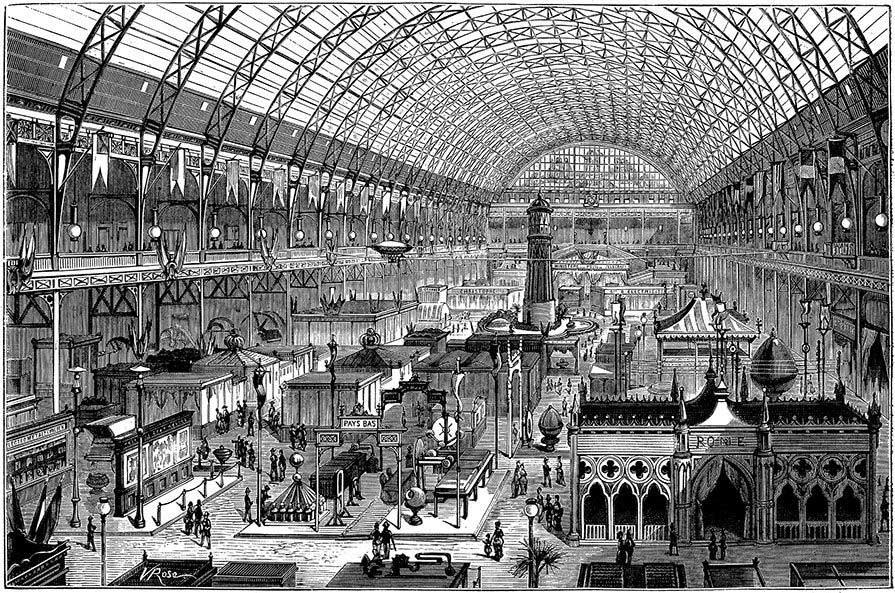 Stampa d'epoca che raffigura l'esposizione internazionale di Parigi del 1881