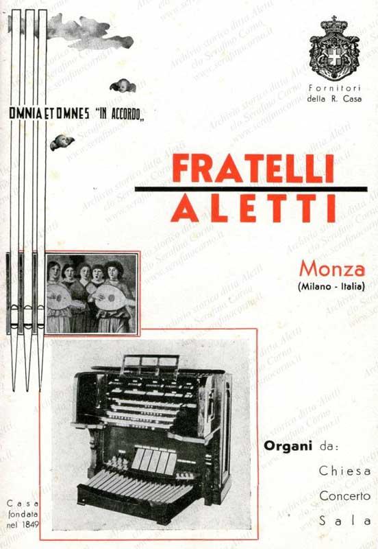 """La prima pagina del catalogo pubblicitario fatto stampare dalla """"Fratelli Aletti"""" dal quale proviene lo stralcio di Fig.41. Il libretto è databile anni '30."""