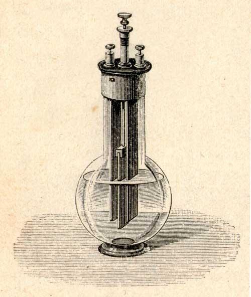 La batteria di Grenet con l'elettrodo centrale estraibile.