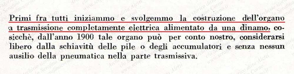 """Lo stralcio di pagina 3 proveniente dal catalogo di Fig.40 nel quale si evince che la """"Fabbrica d'Organi Fratelli Aletti"""" fu la prima fra tutte a costruire un organo a trasmissione completamente elettrica (senza cioè comandi di natura pneumatica) alimentato da una dinamo."""