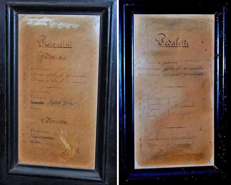 """I cartelli manoscritti con le specifiche per le """"istruzioni d'uso""""."""