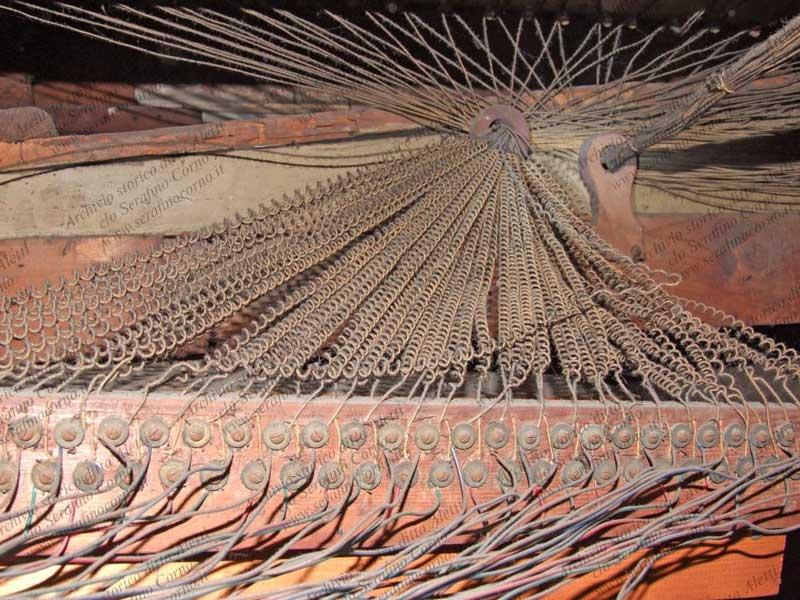 Uno scorcio del sistema originale usato nel 1903 dalla ditta Aletti  per collegare i somieri; è giunto sino a noi e, come si può osservare facilmente da questa immagine, è ancora oggi rimasto miracolosamente intatto.