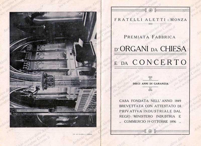 """La pagina iniziale e finale del pieghevole che riporta il certificato di collaudo dell'organo Aletti sito nella chiesa degli """"Artigianelli"""" di Monza."""