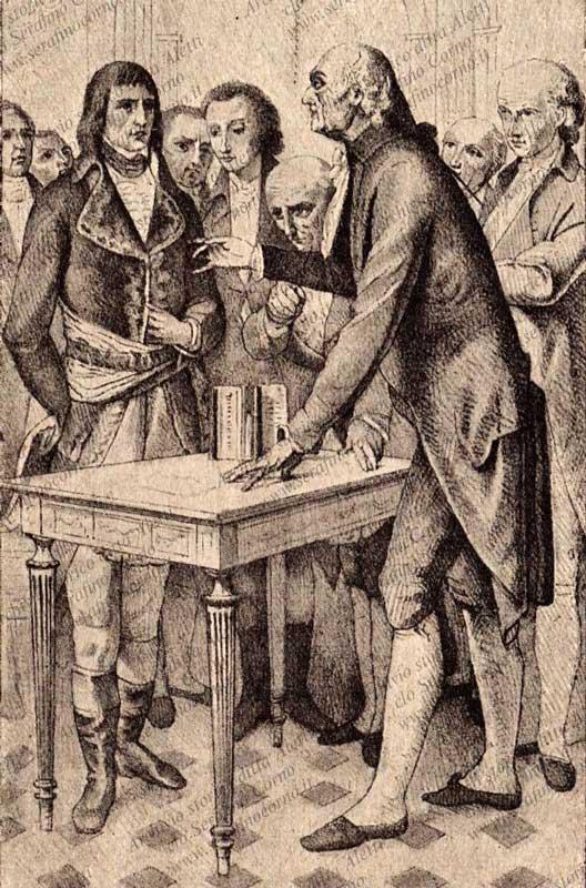 Lo scienziato italiano Alessandro Volta (1745-1827) mentre dimostra a Napoleone Bonaparte il funzionamento della sua pila elettrica (11 novembre 1801).